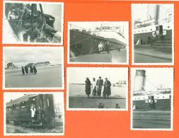 Lot De 7 Photographies Issues Album De Famille - Bateau Isle Of Thanet - Train - Bateaux