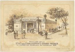 Sté Des Etablissements Coder Frères, Exposition Marseille 1922 ( Verso Plan De L'expo) - Publicités