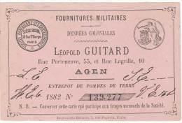 Carte Commerciale : Fournitures Militaires Léopold Guitard, Denrées Coloniales, Agen ( Verso Vierge ) - Publicités