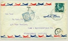 Nederlands Indië - 1947 - Brief Met 25 Cent Wilhelmina Met 1947-opdruk - Met 30 CNT Beport In Nederland - Netherlands Indies
