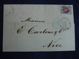 Lettre De ST PÉTERSBOURG Pour NICE ,1875 -Entrée *RUSSIE:ERQUELINES-PARIS . - 1857-1916 Empire