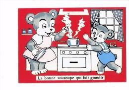 Carte Fantaisie Tissus Feutrine - Ours Ourson - Cuisine Cuisinière La Bonne Sousoupe Fait Grandir - 1967 - E.S. Paris - Contemporary (from 1950)