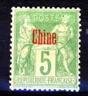 Cina 1894-1900 Tipi Di Francia Del 1876-98 Sovrastampati. N. 3 C. 5 Verde Giallastro (II Tipo) *MH Catalogo € 60 - Ohne Zuordnung