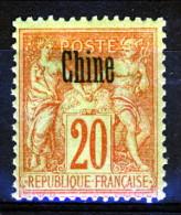 Cina 1894-1900 Tipi Di Francia Del 1876-98 Sovrastampati  N. 7 C. 20 Rosso Mattone Su Verde MH Catalogo € 8,60 - Ohne Zuordnung
