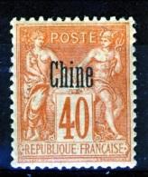 Cina 1894-1900 Tipi Di Francia Del 1876-98 Sovrastampati  N. 10 C. 40 Rosso Arancio MH Catalogo € 12