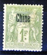 Cina 1894-1900 Tipi Di Francia Del 1876-98 Sovrastampati   N. 14 Fr. 1 Verde-bronzo MH Catalogo € 20
