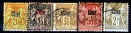 Cina 1894-1900 Tipi Di Francia Del 1876-98 Sovrastampati.  Piccolo Lotto- N. 7, 8a, 9, 12, 15 USATI Catalogo € 66