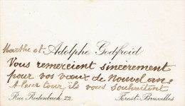 Ancienne Carte De Visite De Marthe Et Adolphe Godfroid, Rue Rodenbach, Forest Bruxelles (vers 1935) - Cartes De Visite
