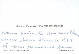 Ancienne Carte De Visite De Jean-Claude Vandevelde, Rue St Martin, Tirlemont Tienen (1963) - Cartes De Visite