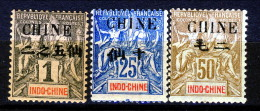 Cina 1904 Tipi Sage Sovrastampati N. 49, 55, 59 *MLH Catalogo € 30