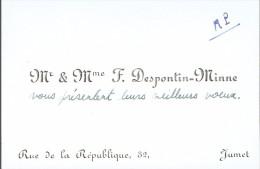 Ancienne Carte De Visite De M. Et Mme Francis Despontin Minne, Rue De La République, Jumet (vers 1970) - Cartes De Visite