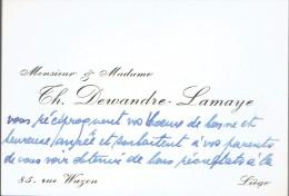 Ancienne Carte De Visite De M. Et Mme Th. Dewandre Lamaye, Rue Wazon, Liège (vers 1970) - Cartes De Visite