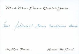 Ancienne Carte De Visite De M. Et Mme Pierre Outelet Garin, Rue Ferrer, Haine St Paul (vers 1970) - Cartes De Visite
