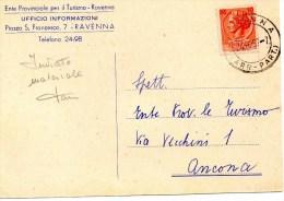 PUBBLICITARIA COMMERCIALE CARTOLINA POSTALE 1957 RAVENNA- ENTE TURISMO - 6. 1946-.. Repubblica