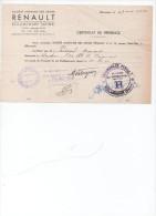 CERTIFICAT DE PRESENCE Au TRAVAIL  De MrA. PERSEGOL  Chez RENAULT BILLANCOURT De 1941 à 1942 - Collections