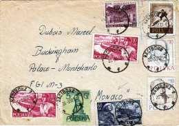 POLEN 1958 - 8 Fach Frankatur Auf Brief Gel.v.Raciborz > Monaco - 1944-.... Republik