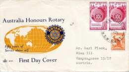AUSTRALIA 1955 - First Day Cover, 3 Fach Frankiert Auf Schmuckbrief Gel.v. St.Paulys? > Wien, Gebrauchsspuren S. Scan - Ersttagsbelege (FDC)