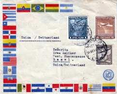 CHILE Flugpostbrief 1941 - 3 Fach Frankierung Auf FP-Brief Gel.v. Santiago > Basel - Chile
