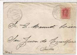 BAÑOS DE MONTEMAYOR CACERES CC A SEVILLA 1924 SELLO ALFONSO XIII VAQUER - Brieven En Documenten
