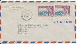 Dominica Air Mail Cover Sent To USA 25-3-1957 - Dominica (...-1978)