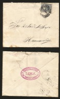 G)1887 PERU, COAT OF ARMS, LIMA CIRCULAR CANC., PINK OVAL CANC. AT THE BACK, CIRCULATED COVER TO HUANCAVELICA, XF - Peru