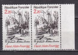 N° 2443 Centenaire De La Naissance D'Henri Alain Fournier: Illustration Du Livre Le Grand Meaulnes: 1 Paire De 2 T - France
