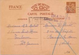 ENTIER IRIS AVEC GRIFFE INADMIS LIBELLE NON REGLEMENTAIRE RETOUR A L ENVOYEUR - Marcophilie (Lettres)