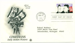 1991 USA Laurel & Hardy  29c  First Day Cover - 1991-2000