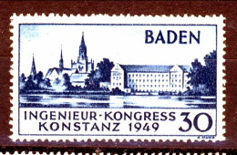 Germania Occupation Française BADEN 1949 Congresso Ingegneri N. 46 P. 30 Blu MNH Catalogo € 42 - French Zone