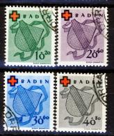 Germania Occupation Française BADEN 1949 Croce Rossa Serie N. 38-41 USATI Annullo Di Favore Catalogo € 80 - Zona Francese