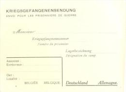 _5pk-782: KRIEGSGEFANGENENSENDUNG  Blanco Kaart...Belgien > Deutschland - WW II