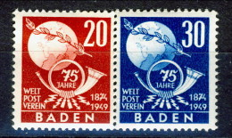 Germania Occupation Française BADEN 1949 Esposizione Filatelica Serie N. 56-57 MNH Catalogo € 19.50 - French Zone
