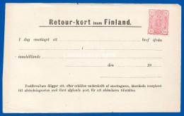 FINLAND 1890 POST OFFICE RETURN RECEIPT RETOUR-KORT 10 PENNI PINK HIGGINS & GAGE W7 UNUSED AVERAGE CONDITION - Postwaardestukken