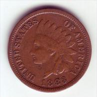 - USA - Etats Unis - One Cent. Indian Head 1883. - Emissioni Federali
