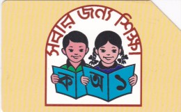 Bangladesh, BAN-07, 50 Units, Children Reading A Book (Thin Magnetic Band - Text On 3 Line, 2 Scans.