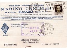 Cartolina Postale Pubblicitaria Commerciale 1941 Bologna -tipogra. Cantelli - 1900-44 Victor Emmanuel III