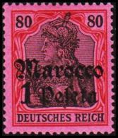 1905. Marocco 1 Peseta 80 Pf. DEUTSCHES REICH.  (Michel: 29) - JF190732 - Offices: Morocco