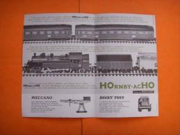 33)  Pub : Hornby Acho  Meccano , Dinky Toys  : Cartonee  : VERSO : , - Publicités