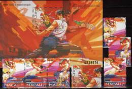 Drachenfestival 1997 MACAU 913/15, ZD,916+Block 45 ** 18€ Drachenfest Mit Tänzer Bändern Fahnen Feuerwerk Sheet Of Macao - 1999-... Chinese Admnistrative Region