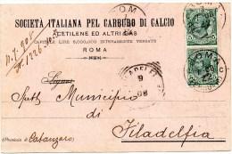 Cartolina Postale Pubblicitaria Commerciale 1908 Roma - Soc. Carburo Di Calcio - Marcophilia