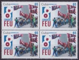 2013.441 CUBA 2013 MNH 8vo CONGRESO DE LA FEU. BLOCK 4. - Cuba