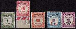 ANDORRE - 5 Valeurs Neuves De La Série De 1931/2 TB Sans Gomme - Nuevos