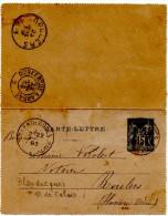 """BLANDECQUES (62) ENTIER SUR CARTE-LETTRE.TYPE SAGE.1893 """"AU VERSO AMBULANT """" DUNKERQUE à ARRAS """" POUR ROULERS (BELGIQUE) - Postmark Collection (Covers)"""