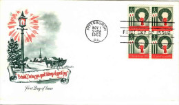 USA 1962 Christmas 4c Block Of 4 Unaddressed FDC Pmk: Pittsburgh PA Nov 1 1962 - First Day Covers (FDCs)