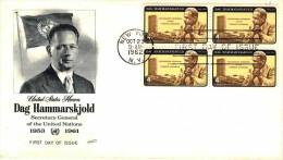 USA 1962 Hammarskjold 4c Block Of 4 Unaddressed FDC Pmk: New York NY Oct23 1962 - First Day Covers (FDCs)