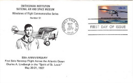 USA 1977 First Transatlantic Solo Flight 13c On Unaddressed FDC From Smithsonian Institution Pmk: Roosevelt Field NY - First Day Covers (FDCs)