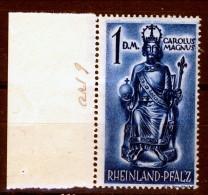 Germania Occupation Française RHEINLAND 1948 Tipi Del 1947-48 Ritoccati N. 29 Dm. 1 Blu **MNH Catalogo € 8,50 - French Zone