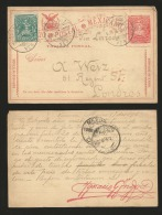 G)1895 MEXICO, COAT OF ARMS-MULITAS 2 CTS., POSTAL STATIONARY, 1CT. MULITAS, CIRCULATED TO LONDON, GB, XF - Mexico