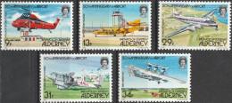 """GUERNSEY-ALDERNEY 18-22  """"50 Jahre Flughafen Von Alderney"""" MNH / ** / Postfrisch - Alderney"""