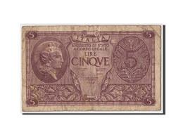 Italie, 5 Lire, 1944, KM:31b, 1944-11-23, B+ - [ 1] …-1946 : Royaume